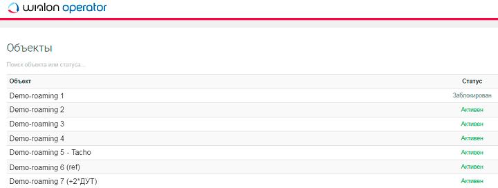 Список объектов в личном кабинете пользователя Wialon