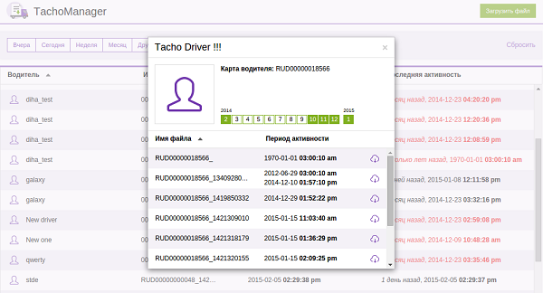 Приложение TachoManager для хранения и просмотра файлов тахографа