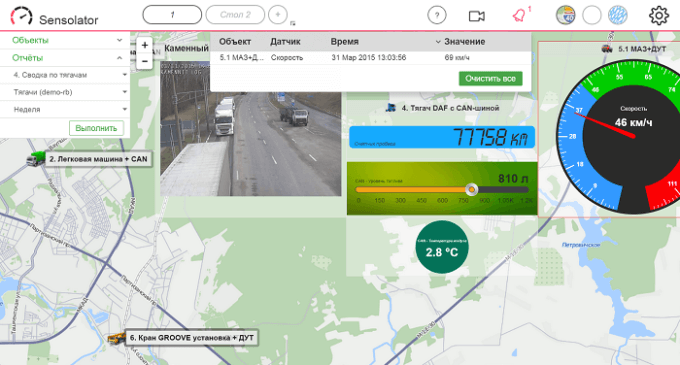 Контроль датчиков транспорта в приложения Sensalotar