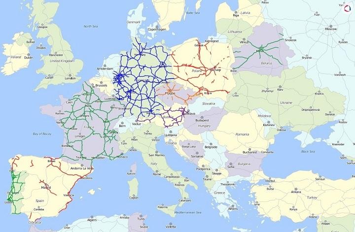 Платные дороги Европы на карте в системе Wialon