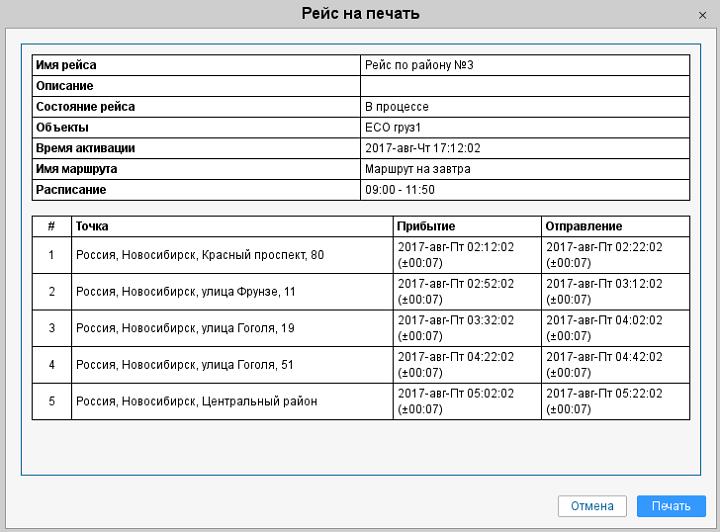 Печатная копия рейса в системе мониторинга Wialon