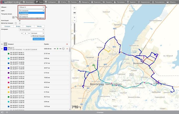 Отображение треков на карте в Wialon