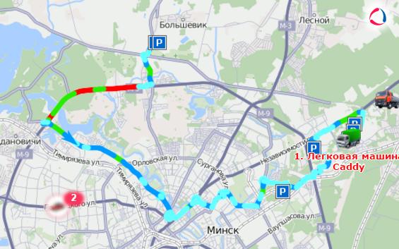 Отрисовка на карте трека движения авто
