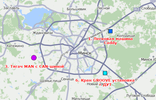 Обозначение цветом объекта на карте